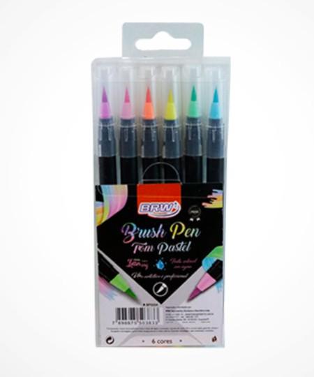 Kit c/ 6 Brush Pens Tons Pastel BRW
