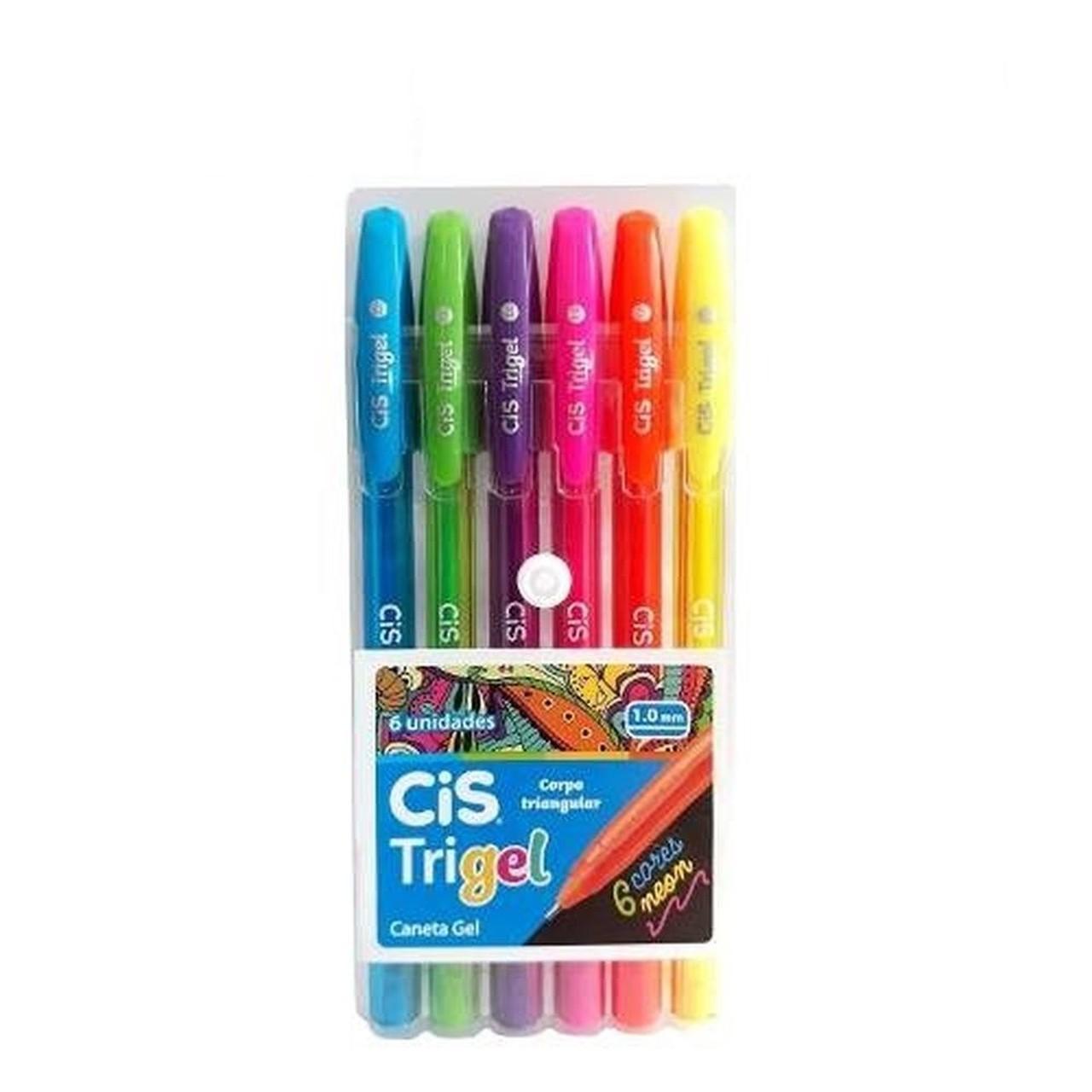 Kit c/ 6 Canetas Cis Trigel Cores Neon