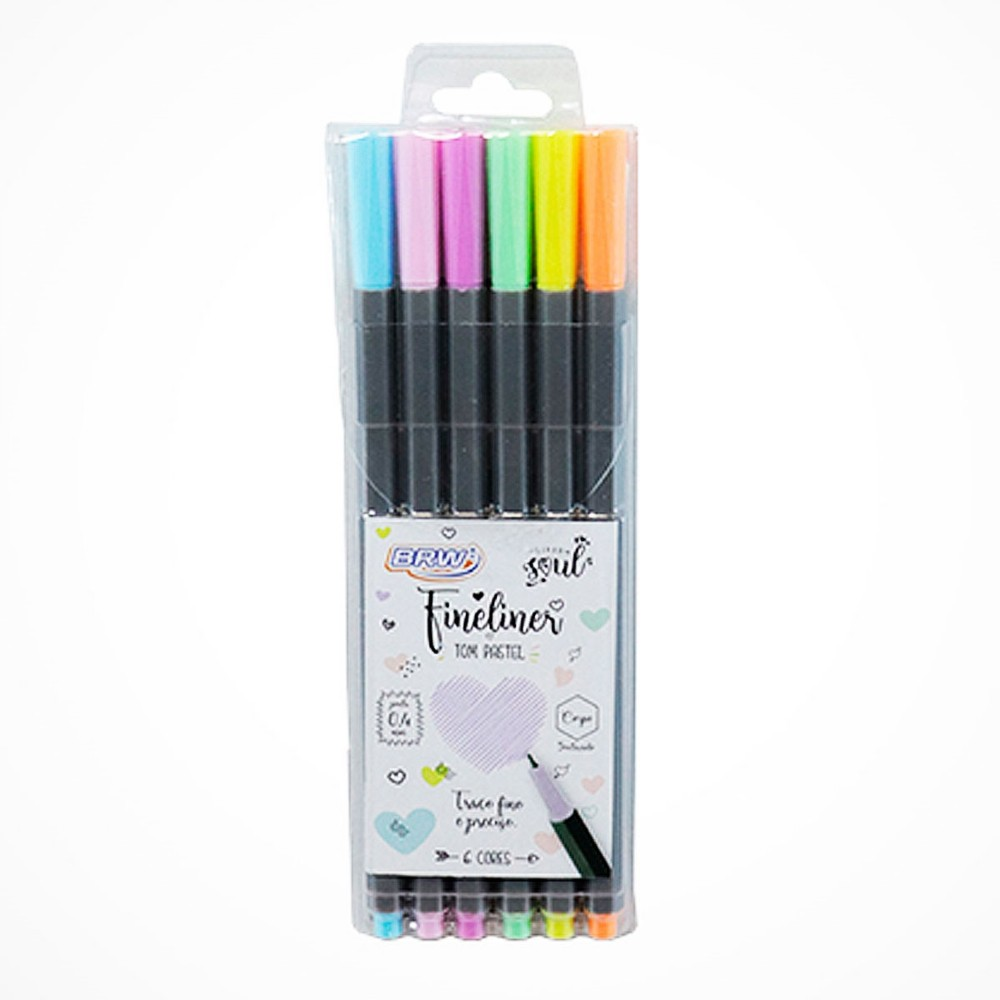 Kit c/ 6 Canetas Fineliner 0.4mm Tons Pastel BRW