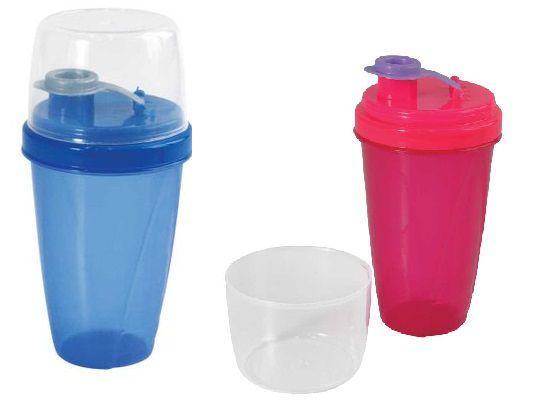 Mini Shakeira de Plástico 350 ml com Fechamento Rosca e Sobretampa Articulável Rosa/Azul