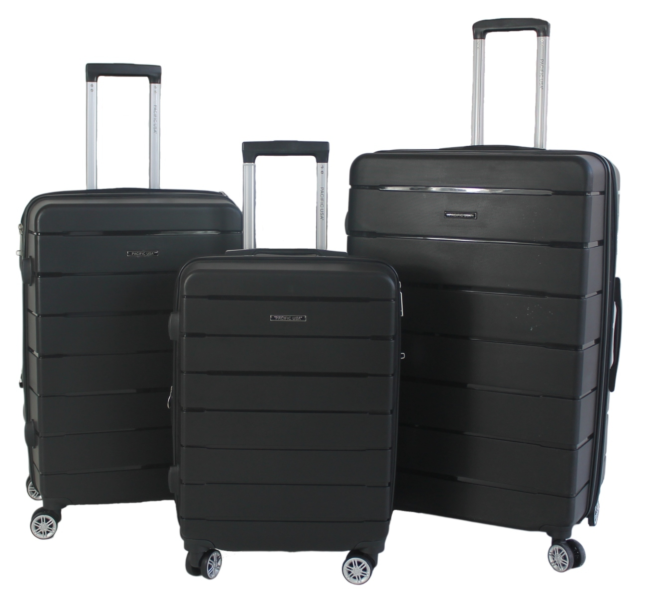 Kit com 3 Malas G, M, P Pacific USA California Polipropileno Ziper Antifurto, Cadeado TSA e Rodas Duplas