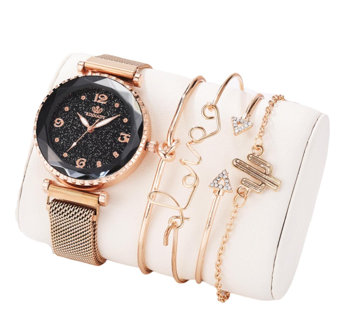 Kit com 1 Relógio Italia + 4 Pulseiras Fashion
