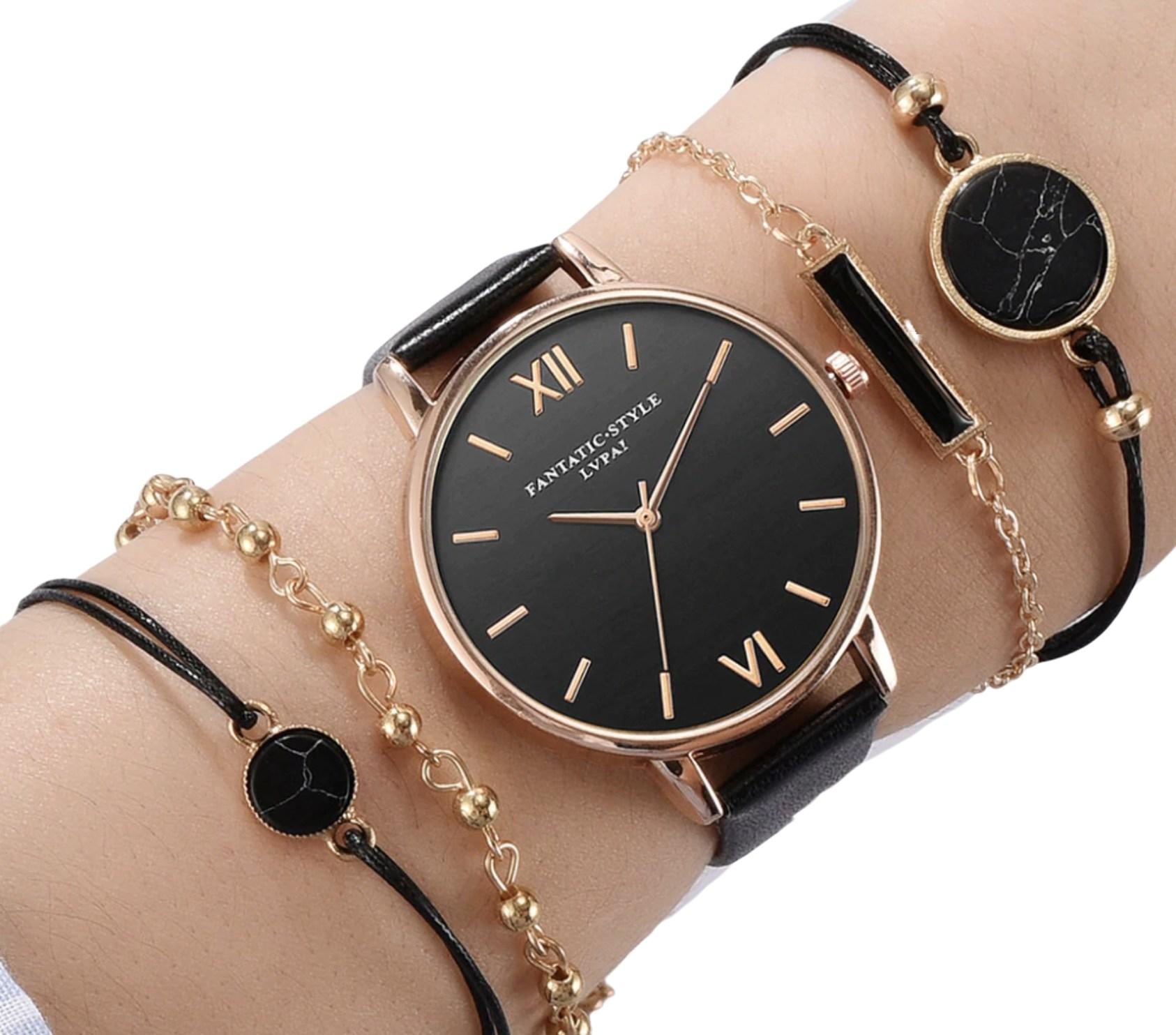 Kit Relógio Feminino Rose Gold com Pulseira Couro + 4 Pulseiras Fashion e Caixa de Presente - França