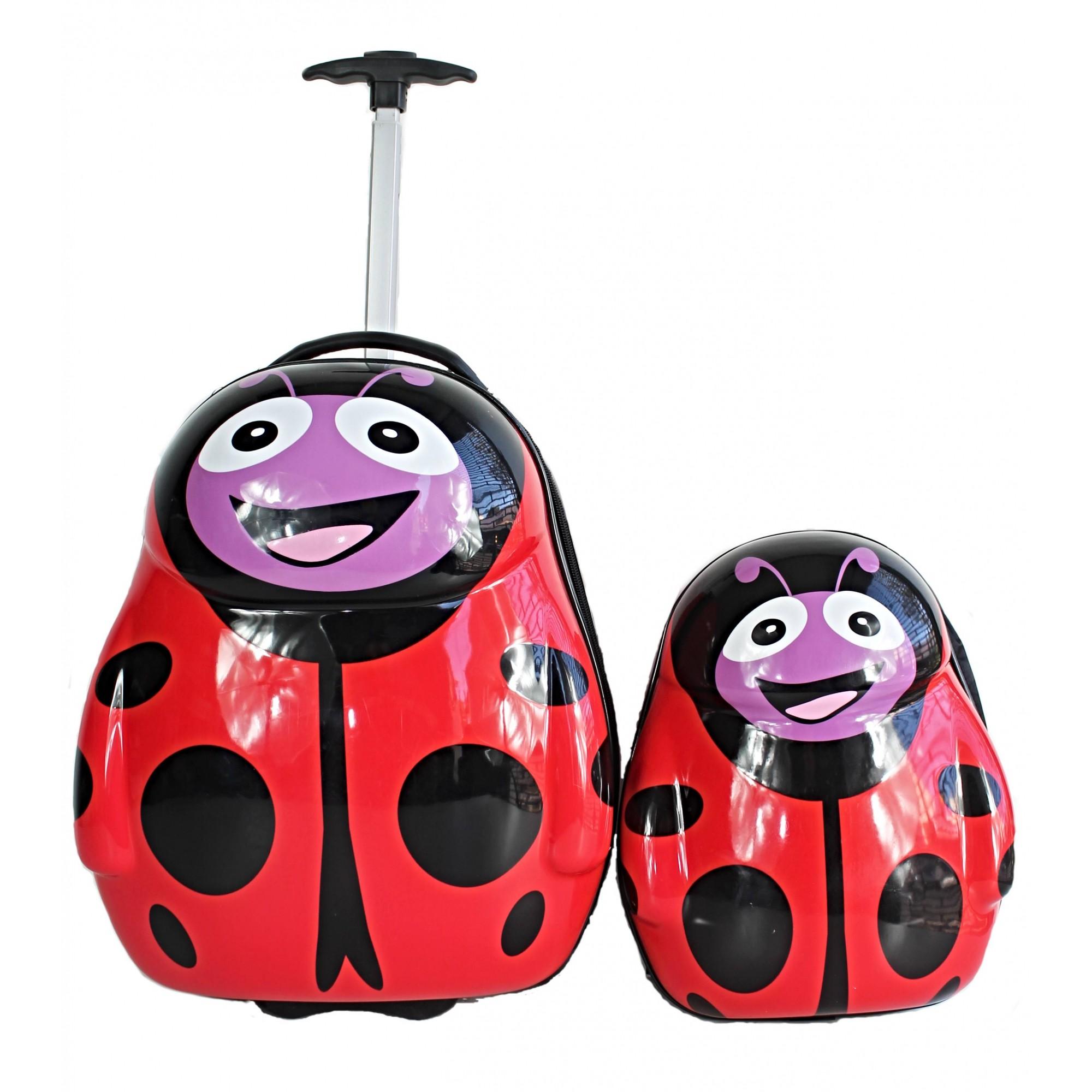 Kit mala de viagem escolar infantil 2 rodas e mochila rígida joaninha