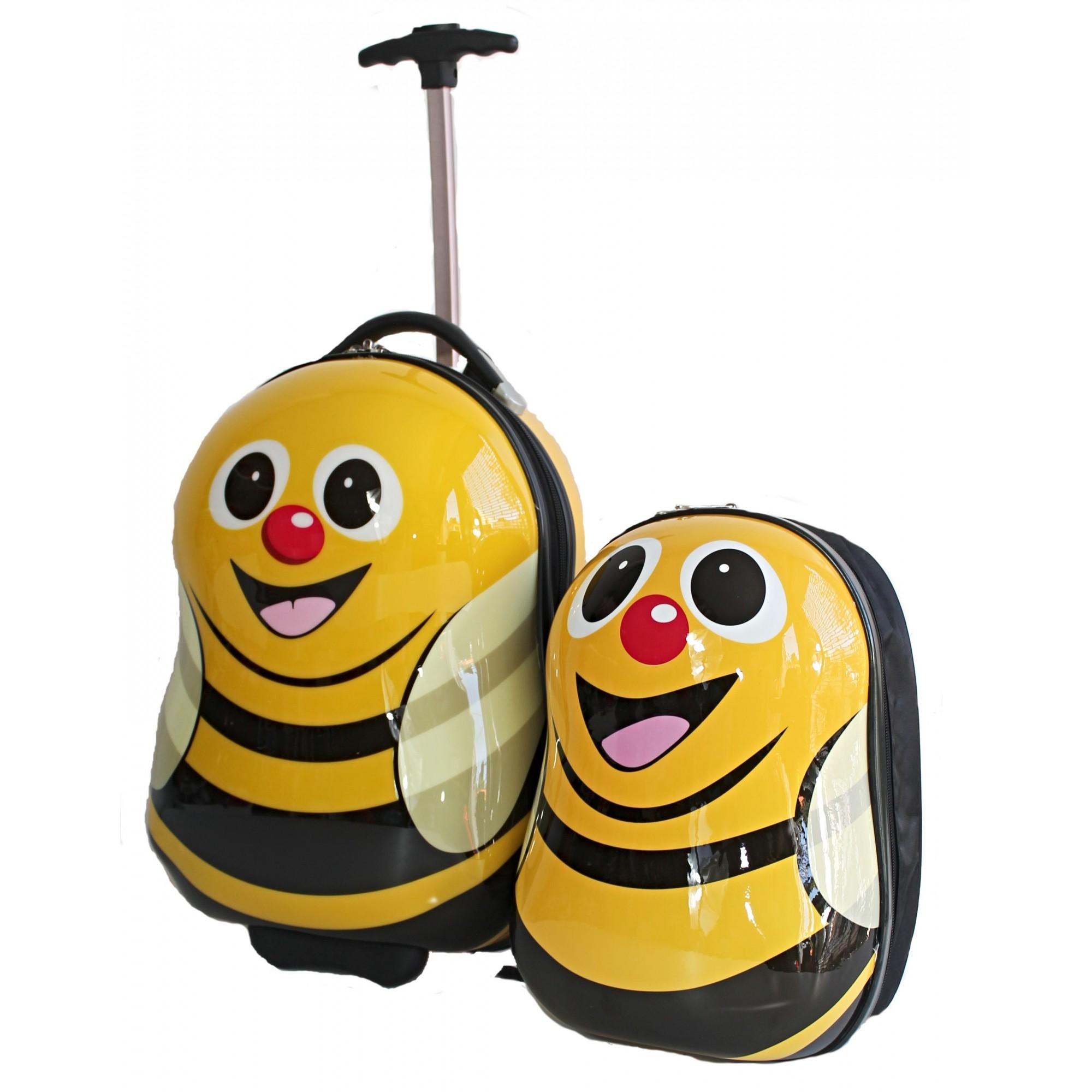 Kit mala de viagem escolar infantil 2 rodas e mochila rígida abelha
