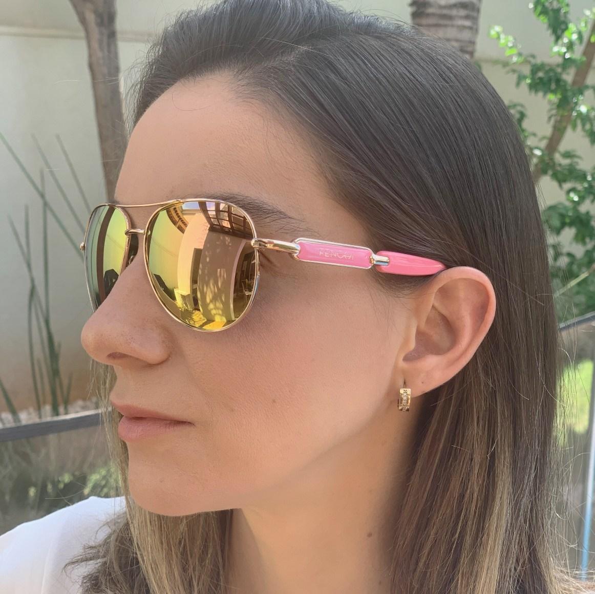 Oculos de Sol Espelhado Feminino Lente Polarizada UV400 - Importado Original Fenchi
