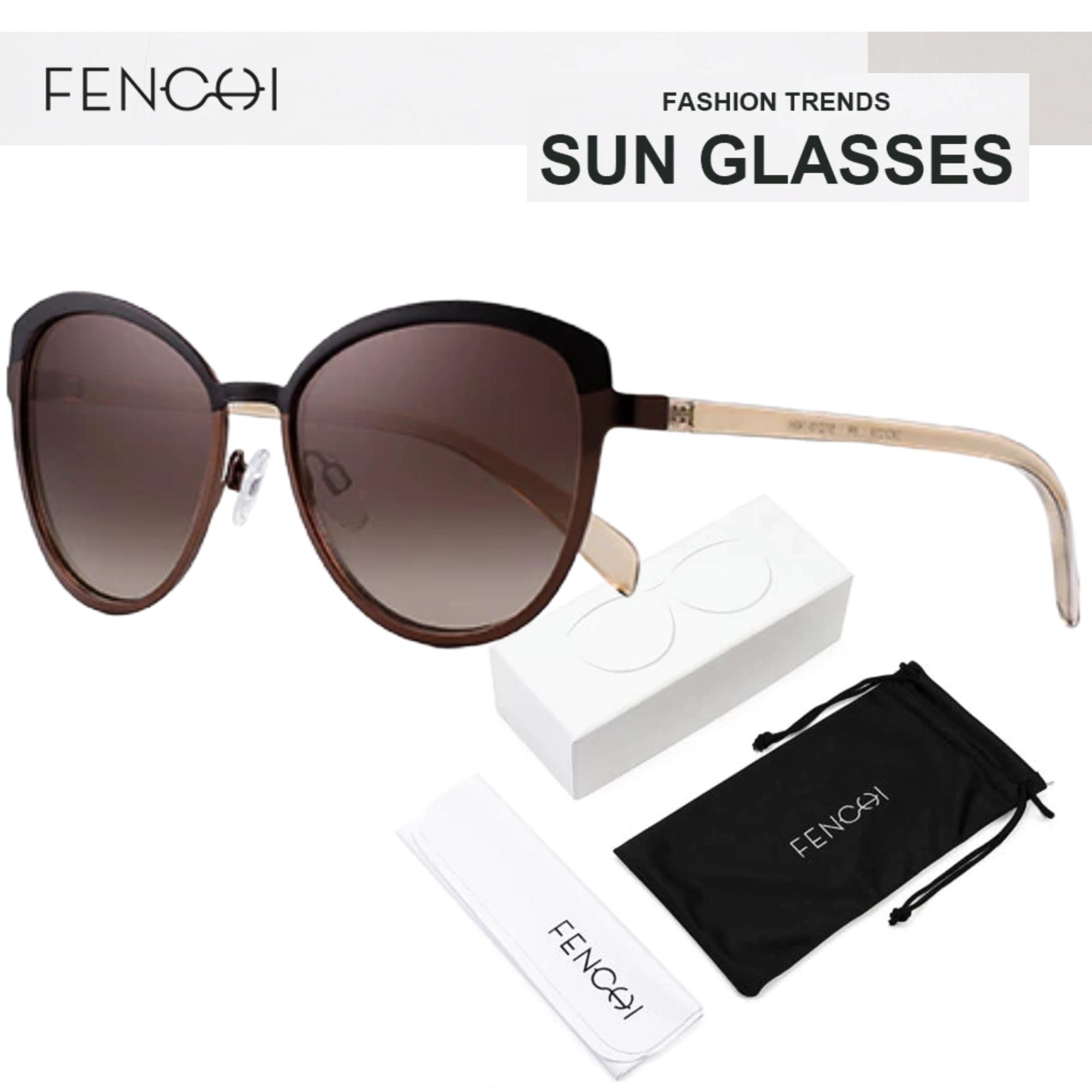 Oculos de Sol Feminino Lente Polarizada UV400 - Fenchi 3 Brown Coffee