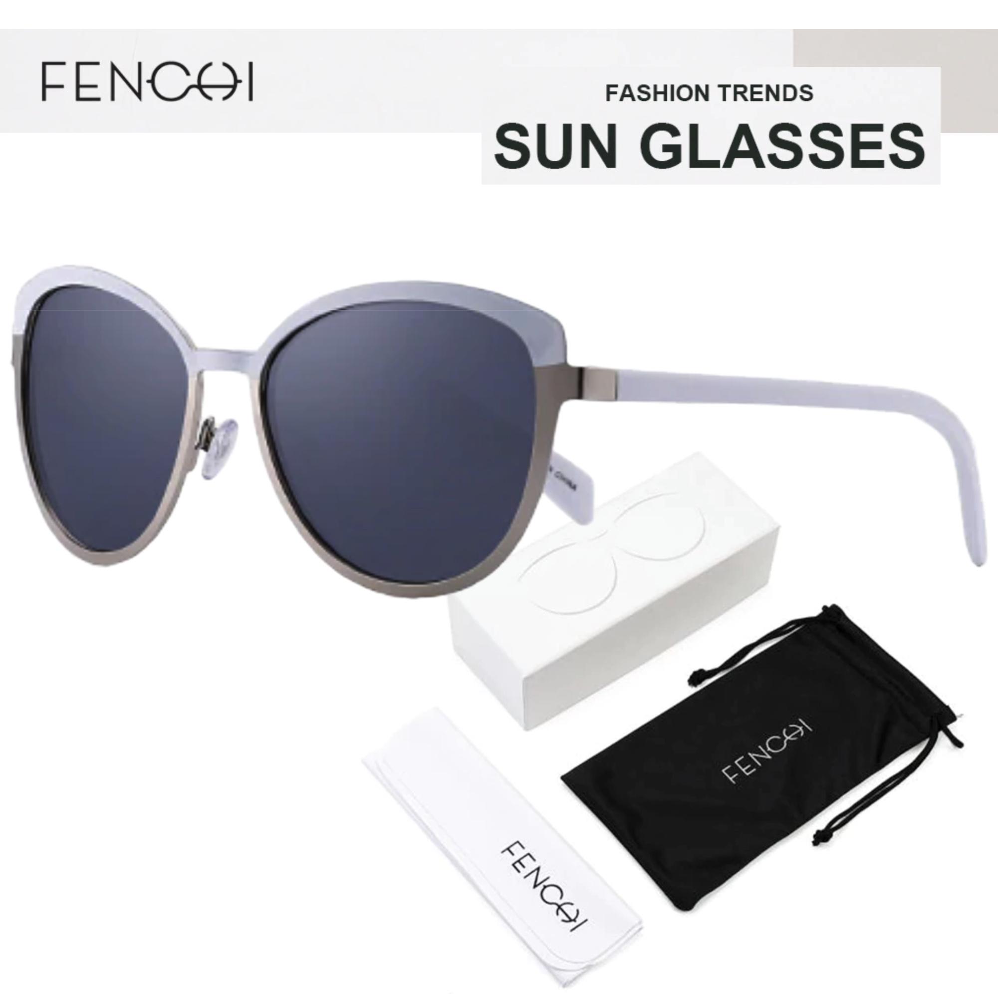 Oculos de Sol Feminino Lente Polarizada UV400 - Fenchi 2 White Gray