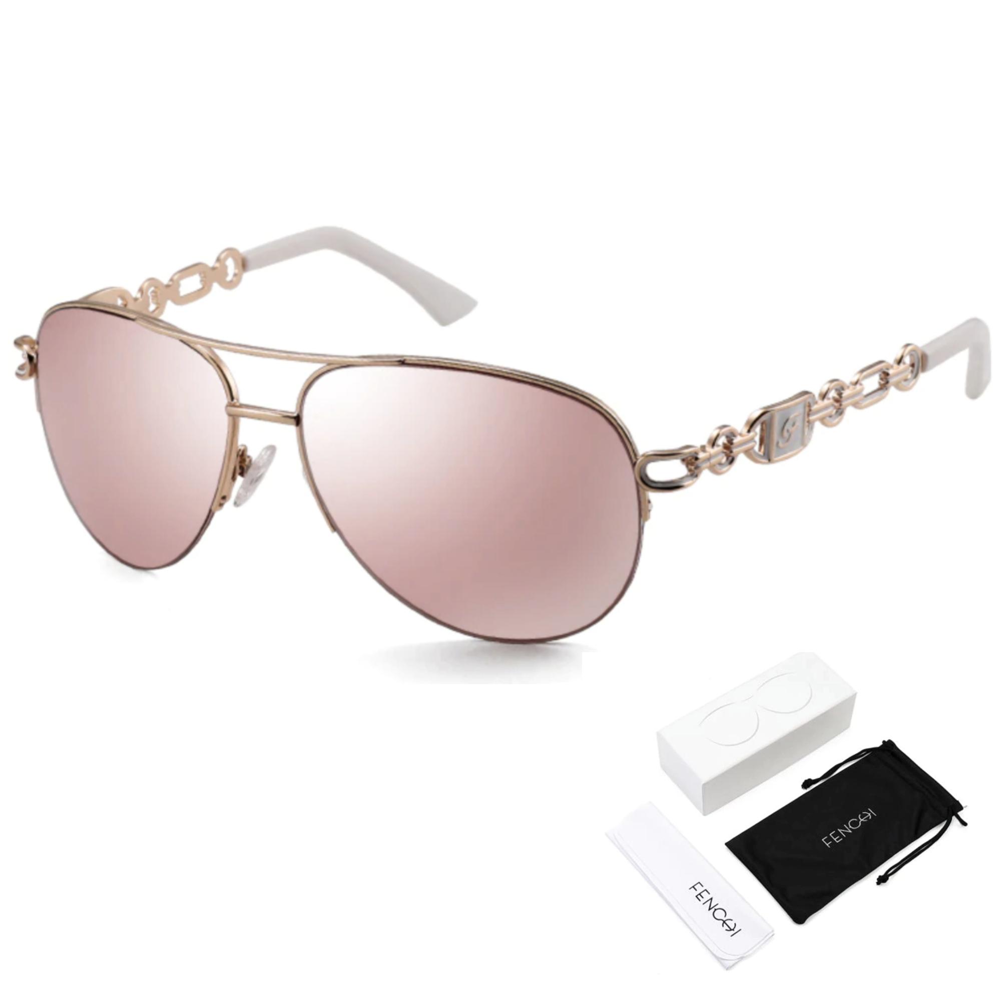 Oculos de Sol Feminino Lente Espelhada Marrom Proteção UV400 - Importado Original Fenchi