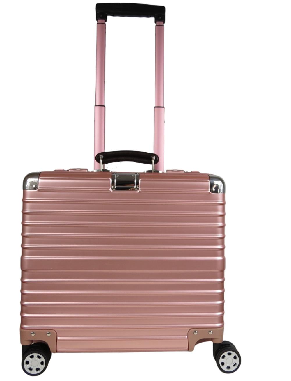 Pasta Mala Viagem Executivo Aluminium 4 rodas Pink com 2 cadeados TSA