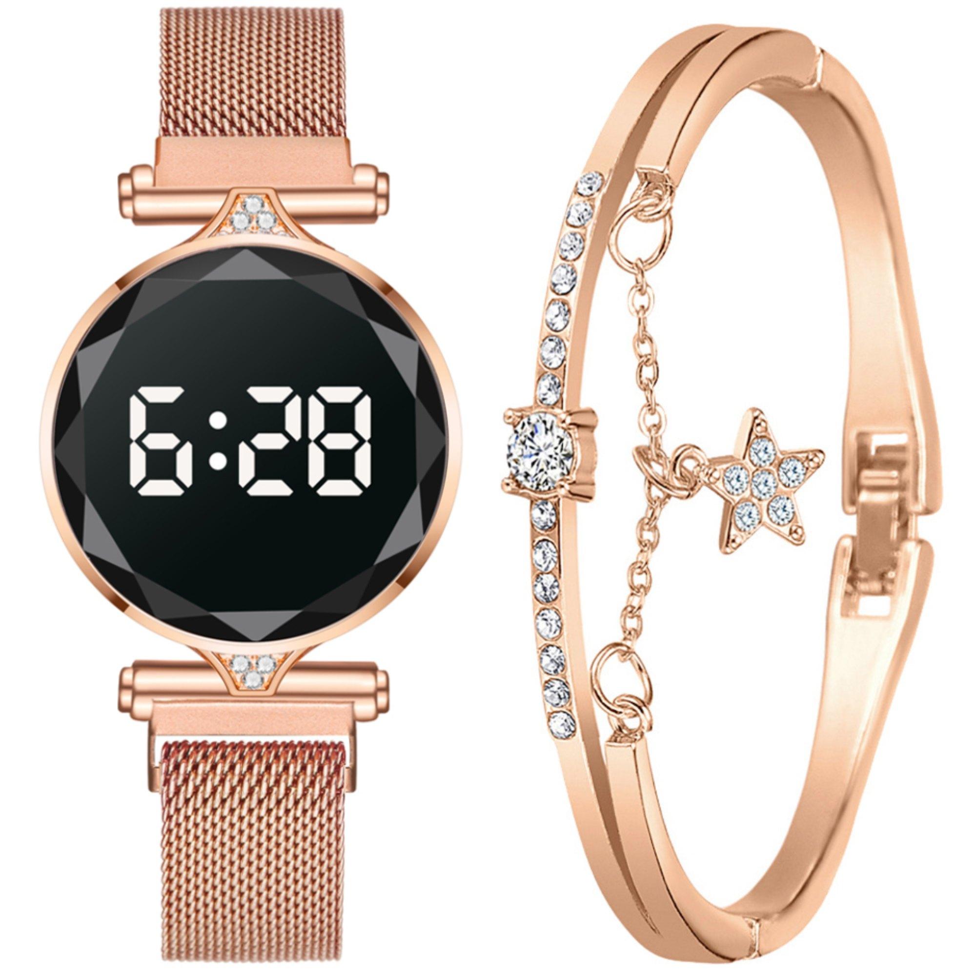 Relógio Feminino Rose Gold Touch Digital LED com Bracelete Strass e Caixa de Presente - Modelo Paris