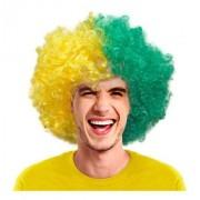 Peruca Black Power Brasil Verde E Amarela