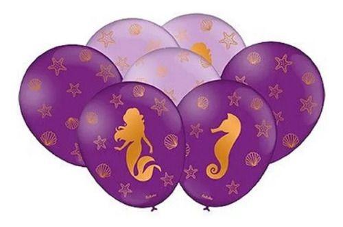 Balão Sereia com Gliter ( pacote 25 unidades )