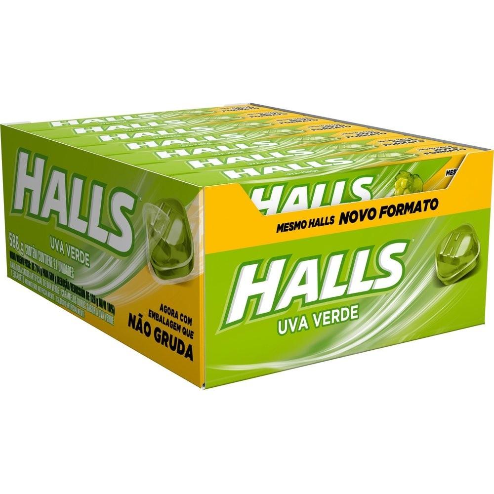 Balas Halls Uva verde caixa com 21 unid de 28 g