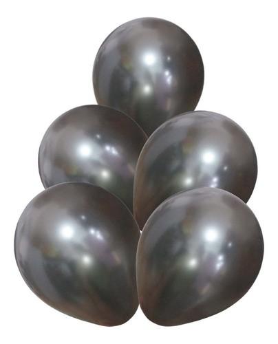 Bexiga 12 polegadas Látex ( 50 unidades ) Prata / Dourado