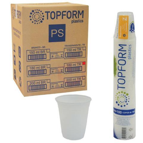Copo 180 ml transparente top form caixa fechada 2500 copos