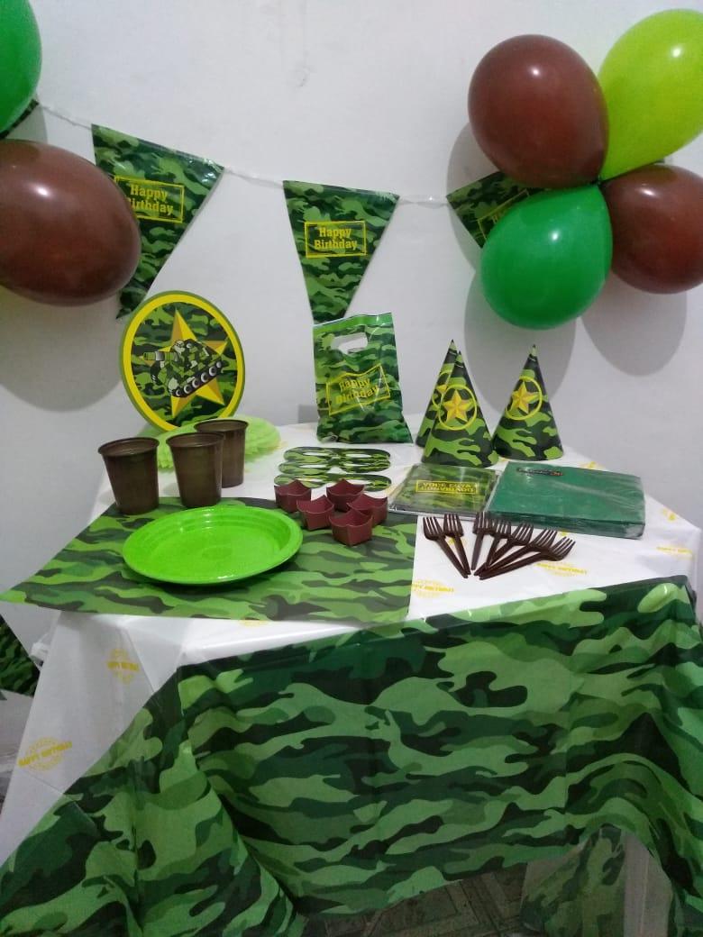 Kit festa completa Exército Camuflagem, camuflado 307  itens !!!