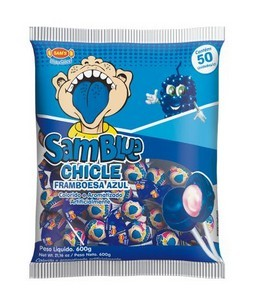 Pirulitos Samblue Festa Pinta língua azul Framboesa 50 unidades