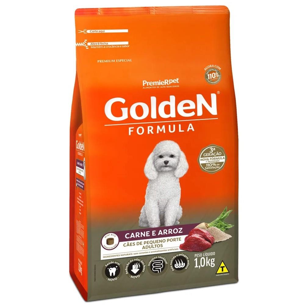 Ração Golden Mini bits Carne e Arroz cães Adultos pequeno porte 1 kg