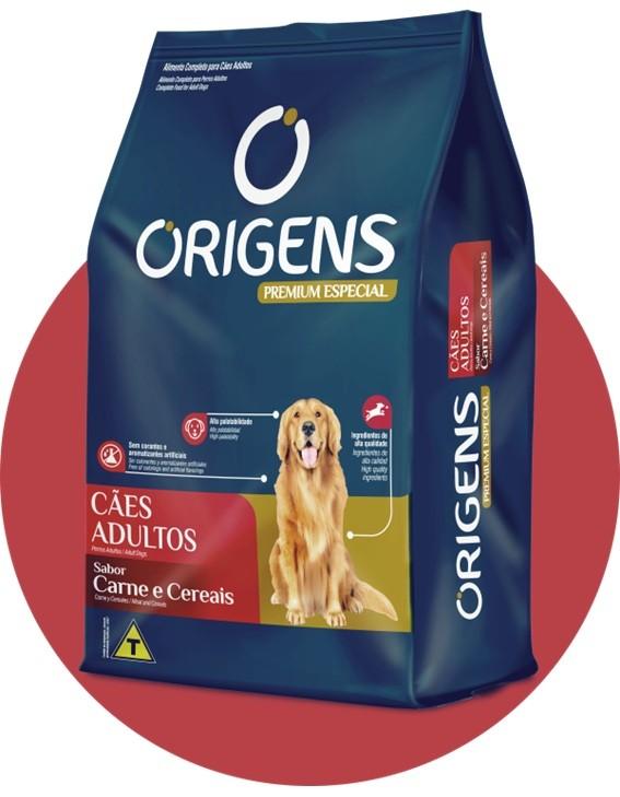 Ração Origens para cães adultos carne e cereais 3 kg Premium especial