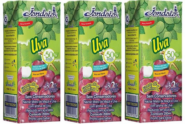 Suco Néctar de Uva Jandaia 200ml pack 3 unidades