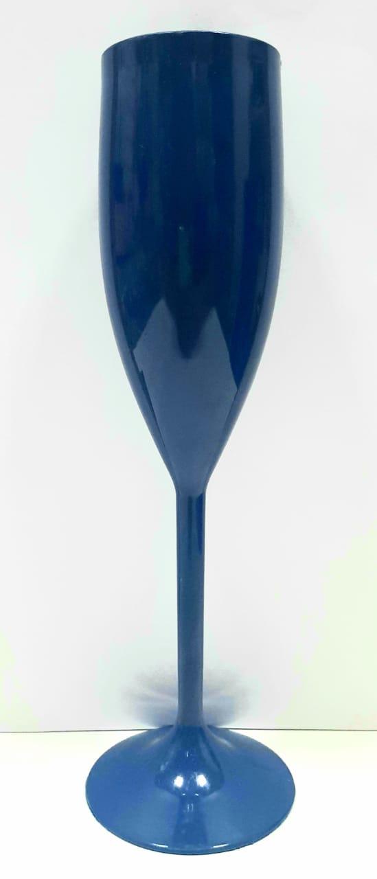 Taça Champanhe Acrílico Azul Escuro Kit Com 5 Unidades !