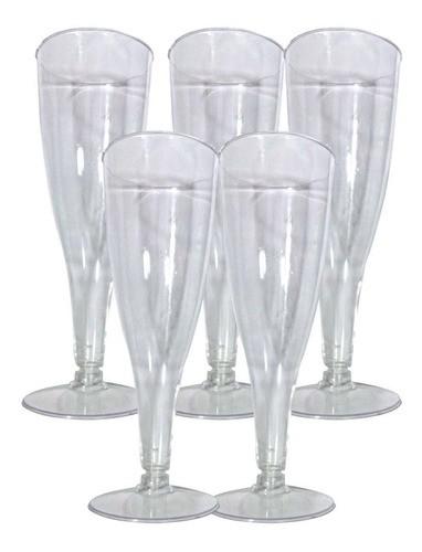 Taça Champanhe Acrílico Transparente Kit Com 5 Unidades !