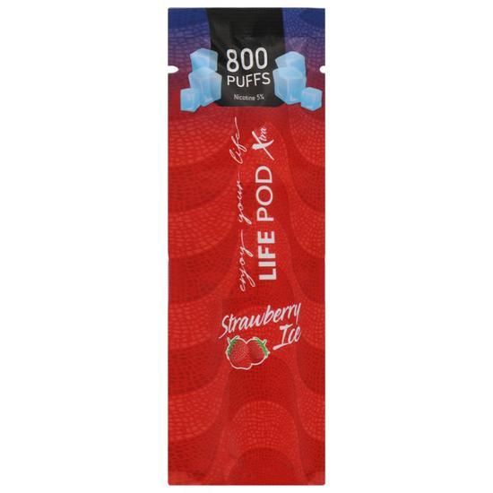 LIFE POD XTRA - Strawberry Ice Descartável 5% nic 800 puffs