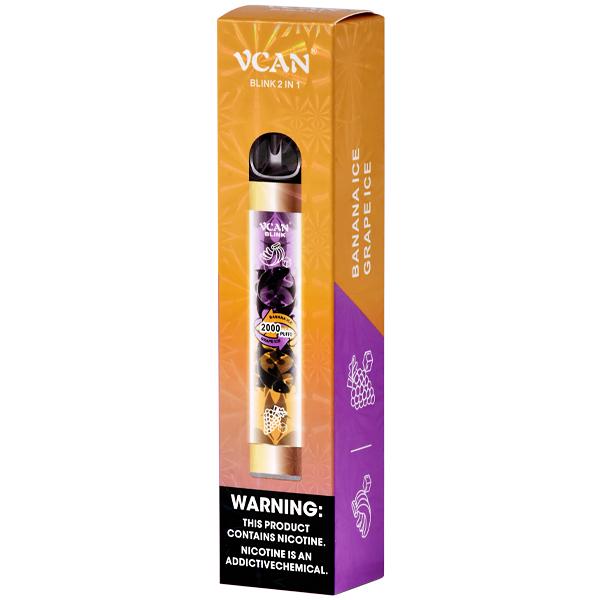 VCAN - Banana Ice e Grape Ice (2 SABORES - 2000 puffs)