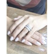 Anel com Zircônia Navete Cristal banhado em Ródio Branco
