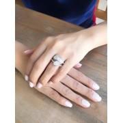 Anel Coração Triplo Com Zirconia Cristal banhado em Ródio Branco