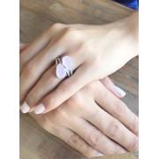 Anel Gota Com Zirconia Cristal e Rosa Leitoso banhado em Ródio Branco
