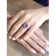 Anel Gota Com Zirconia Cristal e Violeta banhado em Rodio Branco