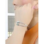 Bracelete Alfinete banhado em Ródio Branco