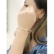 Bracelete C banhado em Ouro 18K/Ródio Branco