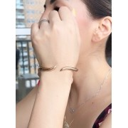 Bracelete Liso banhado em Ouro 18K/Ródio Branco