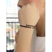 Bracelete Prego Cravejado com zirconias Negra banhado em Ouro 18K