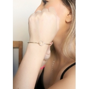 Bracelete Simples com Esfera Vazado banhado em Ouro 18K