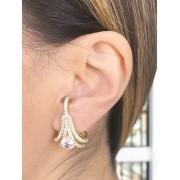 Brinco Earhook Cristal banhado em Ouro 18K