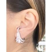 Brinco Earhook Cristal banhado em Ródio Branco
