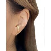 Brinco Earhook de Encaixe Liso banhado em Ouro 18K/Ródio Branco