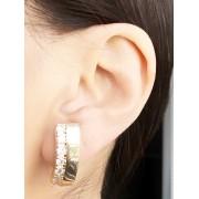 Brinco Earhook Liso com Zirconia Cristal banhado em Ouro 18K