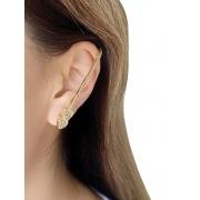 Brinco EarPin Coração Cravejado banhado em Ouro 18K/Ródio Branco