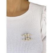 Broche Chanel em Perolas banhado em Ouro 18K