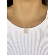 Colar Chanel Cravejado banhado em Ouro 18K/Ródio Branco
