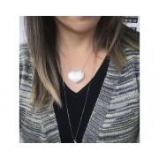 Colar Coração com Zircônia Cristal banhado em Ródio Branco