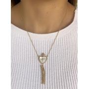 Colar Sagrado Coração Madreperola banhado em Ouro 18K/Ródio Branco