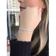 Pulseira Ajustavel Coração Em Zirconia Cristal banhado em Rodio Branco