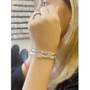 Pulseira Bracelete Chanel banhado em Ródio Branco