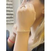 Bracelete Nó Torcido banhado em Ouro 18K/Ródio Branco